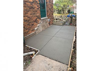 fresh concrete patio before it has dried