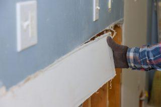 drywall section under repair
